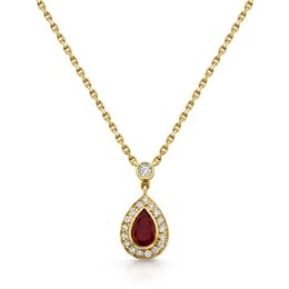 Ruby Pear Shape Cluster Pendant 0.47ct