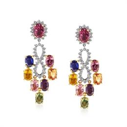 Rainbow Sapphire & Diamond Chandelier Drop Earrings 10.46ct