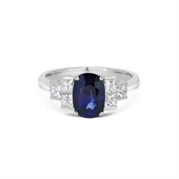 Sapphire & Princess Cut Diamond Engagement Ring 2.46ct