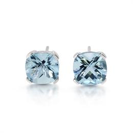 Cushion Cut Aqua Claw Set Stud Earrings 4.23ct