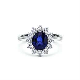Oval Sapphire & Brilliant Cut Diamond Engagement Ring 2.02ct
