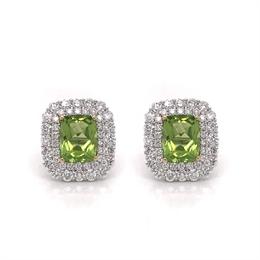 Double Cluster Peridot & Diamond Earrings 4.89ct