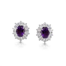 Amethyst & Brilliant Cut Diamond Cluster Earrings 2.25ct