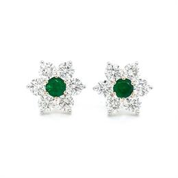 Floral Emerald & Diamond Cluster Stud Earrings 0.38ct