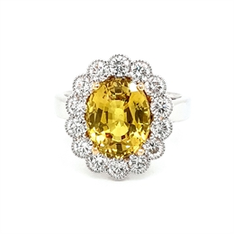 Yellow Sapphire & Diamond Oval Cluster Ring 5.04ct