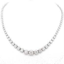 Brilliant Cut Diamond Line Necklace 6.43ct