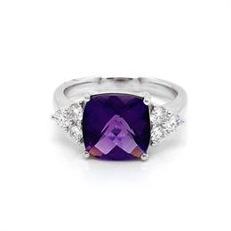 Cushion Cut Amethyst Dress Ring With Claw Set Diamond Trilogy Shoulders 3.02ct