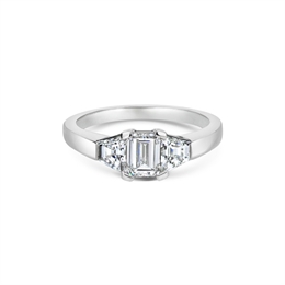 Emerald Cut Diamond Engagement Ring Trapeze Cut Shoulders 0.62ct