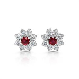 Ruby & Diamond Floral Cluster Stud Earrings 0.36ct