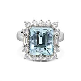 Aquamarine Octagon & Diamond Dress Ring 6.13ct