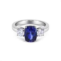 Sapphire & Brilliant Cut Diamond Claw Set 3 Stone Ring 3.07ct