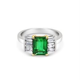 Emerald & Baguette Diamond Dress  Ring 2.04ct