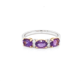 Amethyst & Diamond Claw Set Half Eternity Ring 1.29ct