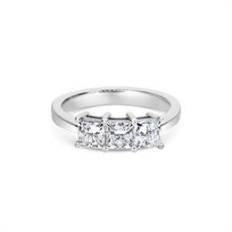 Three Stone Princess Cut Diamond Engagement Ring 1.58ct