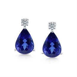 Pear Shape Tanzanite &  Diamond Drop Earrings 12.47ct