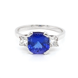 Tanzanite & Diamond Three Stone Ring 2.72ct