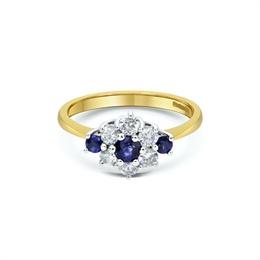 Sapphire &  Diamond Cluster Engagement Ring 0.20ct