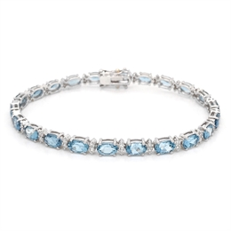 Aquamarine & Diamond Claw Set Tennis Bracelet 8.87ct