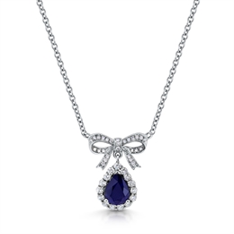Pear Shape Sapphire Drop Pendant With Bow 2.08ct