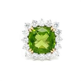 Peridot & Diamond Cluster Dress Ring 7.71ct