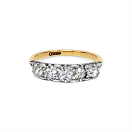 Old Cut Victorian Diamond Carved Half Hoop Ring 1.25ct