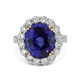 Tanzanite Oval & Diamond Cluster Ring With Diamond Set Shoulders 8.17ct