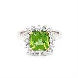 Peridot & Diamond Cluster Dress Ring 2.71ct