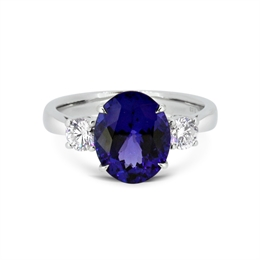 Oval Tanzanite & Diamond Claw Set Three Stone Ring 3.63ct