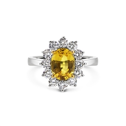Yellow Sapphire & Diamond Oval Cluster Ring 2.25ct