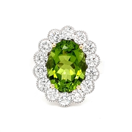 Peridot Oval & Diamond Vintage Style Cluster Ring 5.96ct