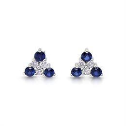 Triangular Sapphire & Diamond Cluster Earrings 0.77ct