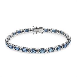 Aquamarine & Brilliant Cut Diamond Line Bracelet 8.79ct