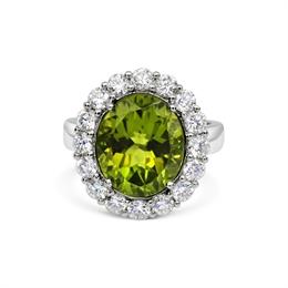 Peridot & Brilliant Cut Diamond Cluster Dress Ring 6.45ct