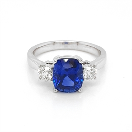 Sapphire & Diamond Claw Set Three Stone Engagement Ring 3.34ct
