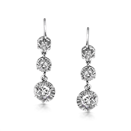 Graduated Victorian Drop Earrings 2ct Approx