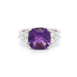 Amethyst Cushion Cut Dress Ring Diamond Trefoil Shoulders 3.26ct