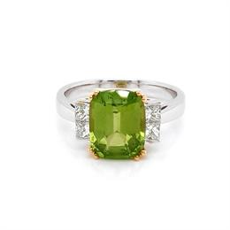 Cushion Cut Peridot & Princess Cut Diamond Dress Ring 3.34ct