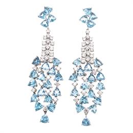 Cascading Aquamarine & Diamond Drop Earrings 14.35ct