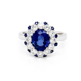 Tanzanite & Diamond Dress Ring With Sapphire Accents