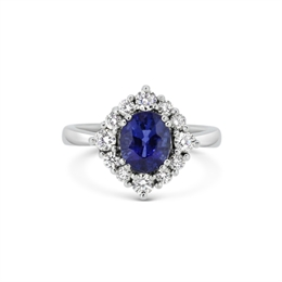 Sapphire & Diamond Claw Set Cluster Ring 2.02ct