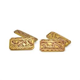 Antique Octagonal 9ct Yellow Gold Engraved Cufflinks