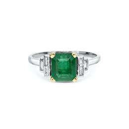 Emerald  & Baguette Cut Diamond Dress Ring 1.95ct