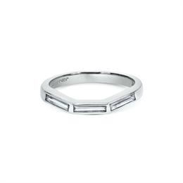 Flush Set Baguette Cut Diamond Curved Wedding Band 0.30ct