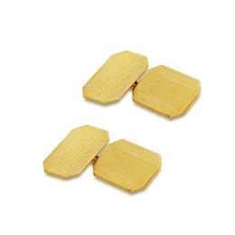 9ct Yellow Gold Textured Engraved Octagon Cufflinks