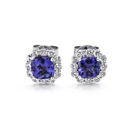 Claw Set Tanzanite & Diamond Cluster Earrings 2.80ct