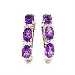 Amethyst & Diamond Half Hoop Earrings 2.83ct