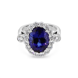 Tanzanite & Diamond Cluster Ring With Rub-Over Shoulders 6.13ct