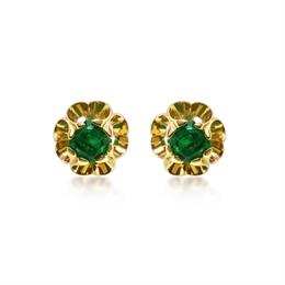 Emerald Octagon Scroll Ear Studs 1.10ct