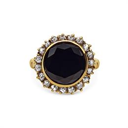 Black Diamond & Old Cut Cluster Ring