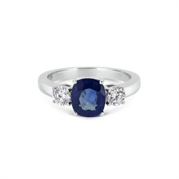Sapphire & Diamond Three Stone Engagement Ring 2.28ct